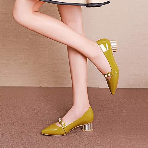 Einzelne High Shiny Schuhe Damen DONGLU Heels Lackleder Pearl 5Y6OnXx