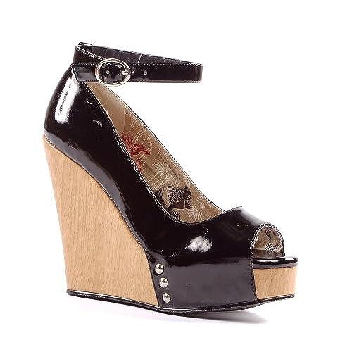 "PENTHOUSE PH475-ROCKY Women Open Toe 4.5"" High Cork Wedge Heel Ankle Wrap Pump, Color:BLACK, Size:11"
