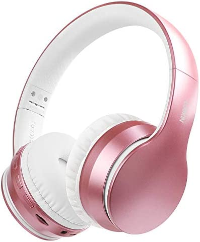 Lobkin Wireless Headphone with Microphone,Over-Ear Stereo Noise Cancelling FM Radios TF Foldable Portable Headsets for iPhone 12/TV/Home/Office/Business Kids Comfortable Bluetooth Headphones (Pink)