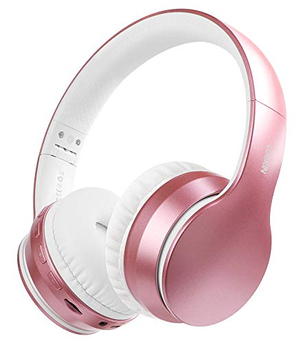 Lobkin Wireless Headphone with Microphone,Over-Ear Stereo Noise Reduce FM Radios TF Foldable Portable Headsets for iPhone 12/TV/Home/Office/Business Kids Comfortable Bluetooth Headphones (Rose Pink)