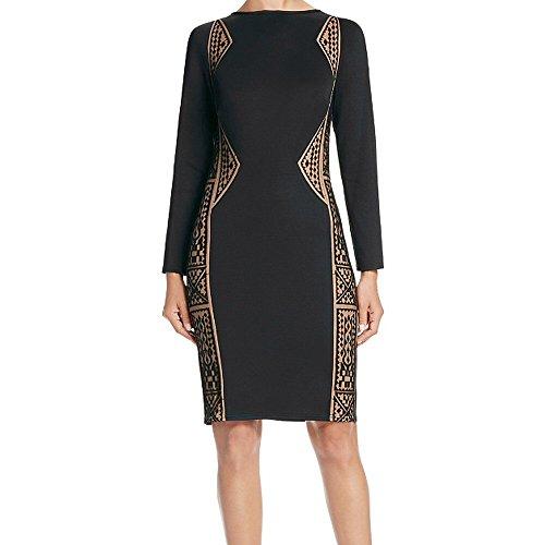 Tadashi Shoji Geometric Lace Inset Long Sleeve Sheath Cocktail Dress