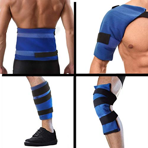 (Best Oversized Gel Ice Packs for Injuries for Men and Women- Flexible Hot and Cold Reusable Therapy Ice Pack Wrap for Shoulder, Knee, Back, Calf, Wrist, Ankle, Foot, More! Heat and Icing Compress)