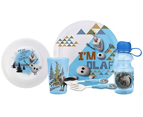 Zak! Designs Mealtime Set, Plate, Bowl, Tumbler, Water Bottle, Fork & Spoon with Olaf & Sven from Frozen, BPA-Free, 6 Piece -
