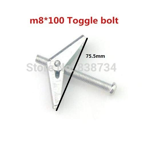 Ochoos 10pcs m8100 Spring Wing Toggle Anchor with zinc Plated Toggle Bolt