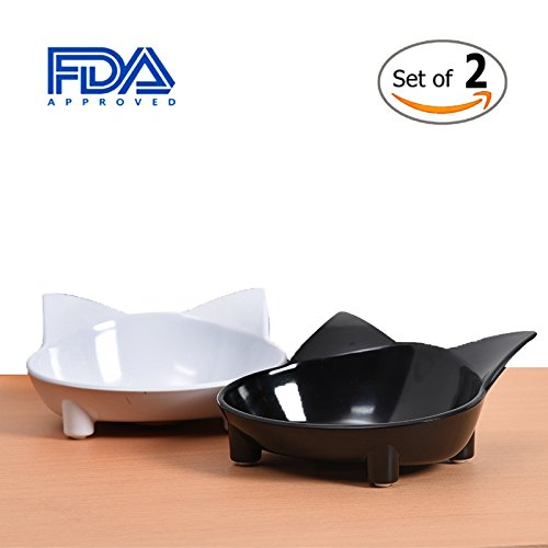 Lorde Cat Bowl, Shallow Cat Food Bowls,Wide Cat Dish,Non Slip Cat Feeding Bowls,Cat Food Bowl for Relief of Whisker Fatigue Pet Food & Water Bowls (Set of 2)