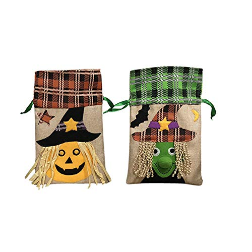 (Yarssir Pack of 2 Kids Chilren Drawstring Halloween Pumpkin Witch Trick or Treat Gift Candy Bags Halloween)