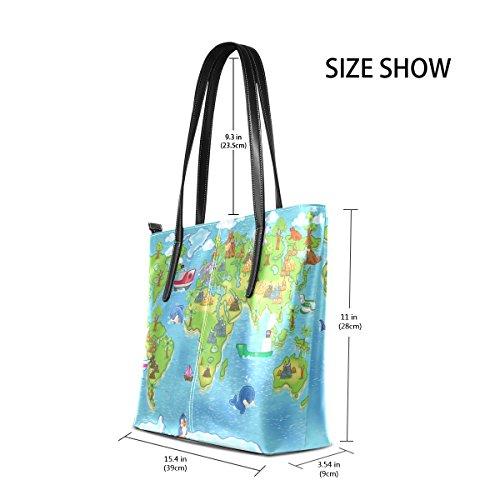 COOSUN Kinder Weltkarte PU Leder Schultertasche Handtasche und Handtaschen Tasche für Frauen