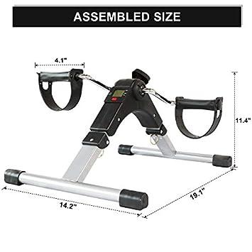 SNODE Folding Exercise Peddler MC600 2019, Mini Exercise Bike, Portable Fitness Foot Bike, Folding Exercise Peddler with LCD Display