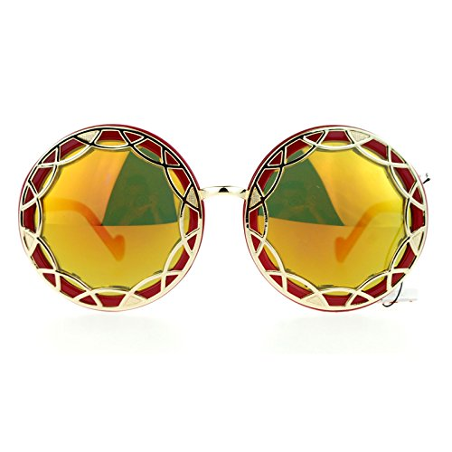 SA106 Art Nouveau Victorian Metal Trim Round Circle Lens Retro Sunglasses Red - Retro Victorian Sunglasses