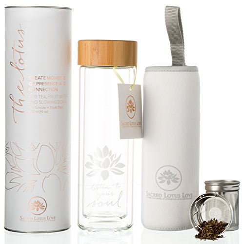 The NEW Lotus Glass Tea Tumbler with Infuser + Strainer with Sleeve for Loose Leaf Tea and Fruit Water. 15oz Travel Bottle with Bamboo Lid + Reinforced Glass Bottom. Beautifully Packaged.