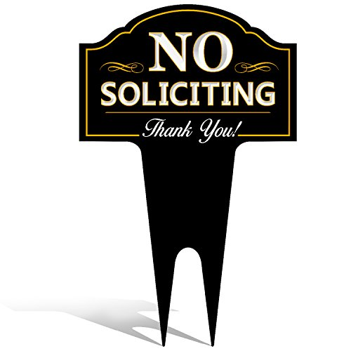 No Soliciting Outdoor Metal Yard Sign for Home, House and Business | Stylish Laser Cut | Made with Heavy Duty DiBond - Signs Decorative Yard