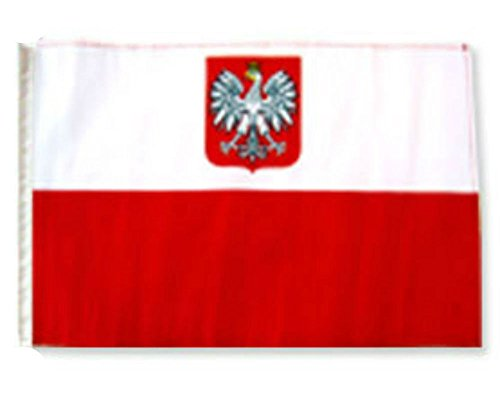 ALBATROS 12 inch x 18 inch Poland Polish Eagle Sleeve Flag for use on Boat, Car, Garden for Home and Parades, Official Party, All Weather Indoors Outdoors