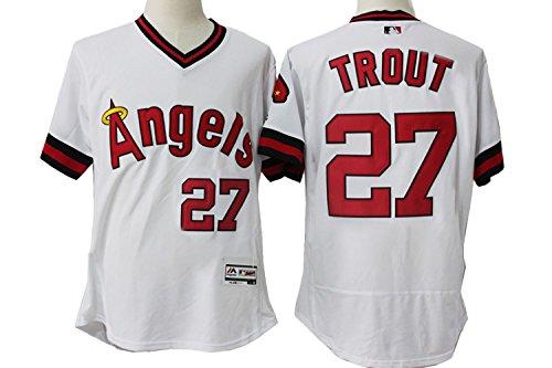 Men's Short Sleeved No.27 Los Angeles Throwback Baseball Jersey White M