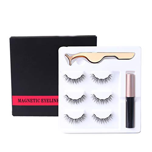 CARETHYS Upgraded Magnetic Eyeliner Eyelashes Kit, Waterproof Magnetic Liquid Eyeliner With 2 Pair Long Thin Magnetic False Eyelash,Natural Look,With Tweezers (3 Pair) (3 Pair)