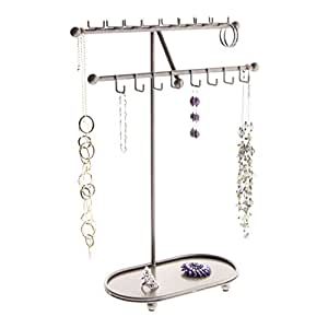 Necklace Holder Stand Organizer Jewelry Tree - Angelynn's Jewelry Organizers (Sharisa Satin Nickel Silver)