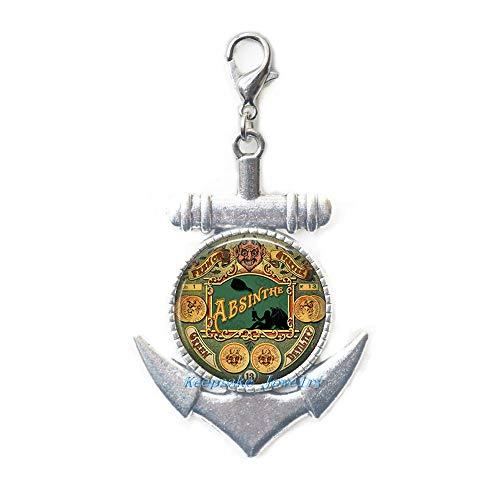KeepsakeJewelry Green Devil Anchor Zipper Pull,Absinthe Lobster Clasp,Steampunk Jewelry,Steampunk Jewellery,Absinthe jewelry-ZE247