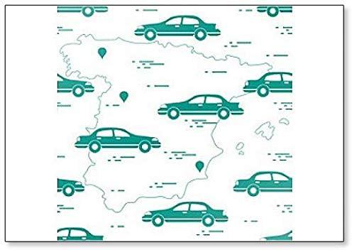 Patrón con coches y mapa de España. Imán para nevera de viaje y ...
