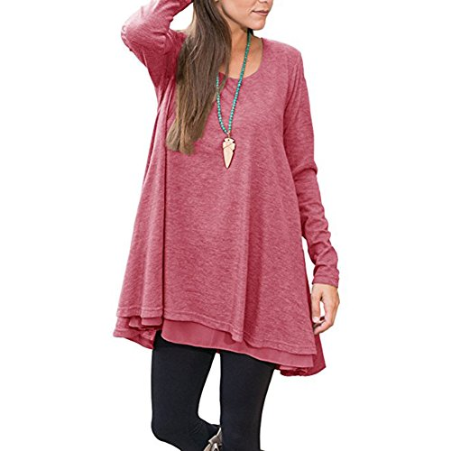 YUMDO Long Sleeve Layered Blouse Scoop Neck Casual Tunic Dress Rose (Rose Pink Layered)