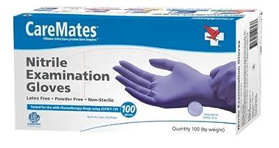 Caremates Nitrile Exam, Powder Free Glove, Medium, 100-count