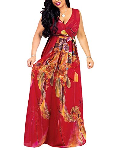 Women's Boho Wrap Maxi Dresses - Elegant Chiffon Belted Floral Long Dresses Belted Medium Dark Red Chiffon