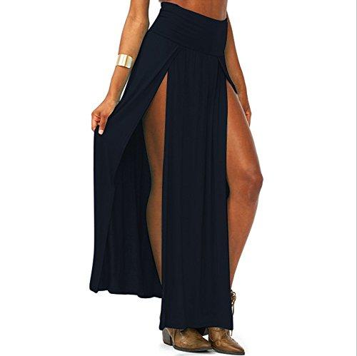 AvaCostume Womens High Waist Double Slit Solid Maxi Skirt, (Double Slit Skirt)