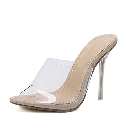 Sandalias para Albaricoque Tacones Genepeg Tacones Transparentes y Sexy PVC Finos de Mujer 1axFgtnx