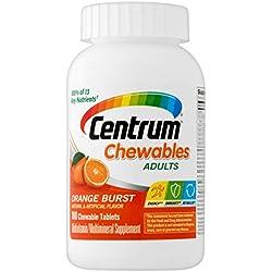 Centrum Adult Chewables Multivitamin / Multimineral Supplement Tablet, Vitamin C, Vitamin E, Beta-Carotene and Zinc (Orange Burst Flavor, 100 Count)
