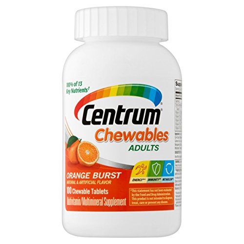Centrum Adult (100 Count) Multivitamin / Multimineral Supplement Chewable Tablet, Vitamin D3 Adult Chewable Multivitamin