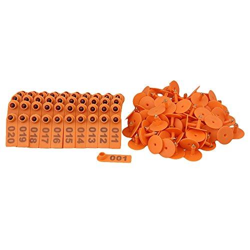 1-100 Number Ear Tag For Sheep Pig Set Of 100 (Orange) - 4