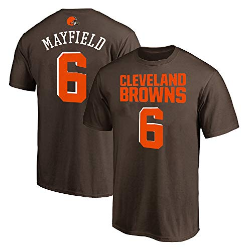NFL Youth 8-20 Team Color Polyester Performance Mainliner Player Name and Number Jersey T-Shirt (Large 14/16, Baker Mayfield Clevelnad Browns Brown)