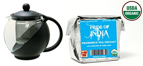 Pride Of India - Organic Chamomile Tea (Decaf) - Half Pound Full Leaf & Tempered 3-Cup Glass Tea Pot w/ Removable Infuser - 25 Fluid Ounces Combo Pack LIMITED TIME SALE PRICE: $24.99