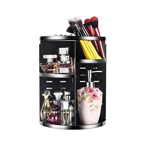 (Coyaho Rotating Makeup Organizer, Cosmetic Storage Jewelry Box (Black))