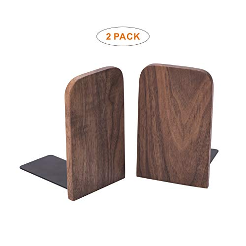Vintage Wooden Bookends with Metal Base 2 Pcs Heavy Duty Black Walnut Book Stand with Anti-Skid Dots for Office Desktop or ()