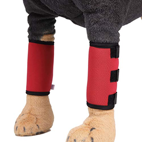 Alfie Pet by Petoga Couture - Gemini Dog Front Leg Brace Paw Compression Wraps - Color: Red, Size: Small (Dog Rub Paw)