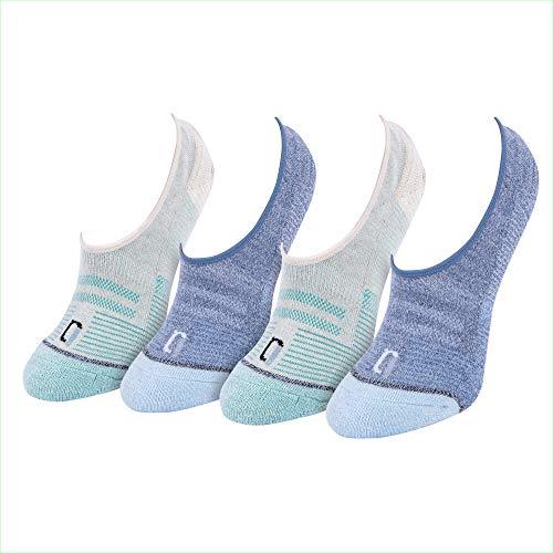 IQ Brilliantly Designed Women's Wool Blend No Show Hidden Liner Socks 4 Pack - Blue & White