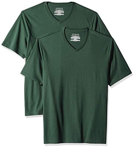 Amazon Essentials Men's 2-Pack Loose-fit V-Neck T-Shirt, Dark Green, Small ()