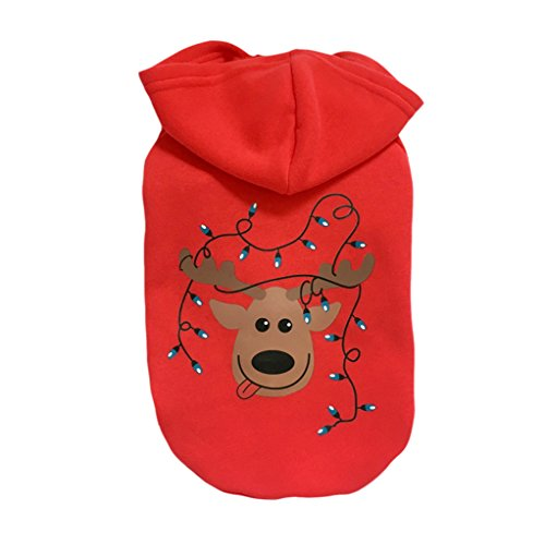 Christmas Pet Coat Clothes Apparel Hoodie Costume with Cap for Winter for Cat Small Dog Puppy Red (Coffee Deer) S