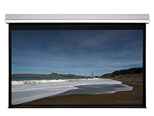 Monoprice Ceiling Recessed Motorized Projection Screen (Somfy Motor) w/ IR Remote - Matte White Fabric (106 inch, 16:9) by Monoprice