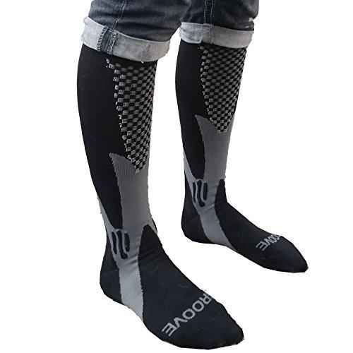 (Groove Socks Compression Socks for Women 15-20 mmHg Knee High Black)