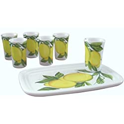 Abbiamo Tutto Limoncello Ceramic Glasses and Ceramic Tray, Set of 6