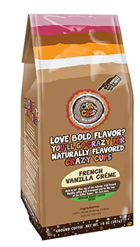 Crazy Cups Flavored Ground Coffee in 10 oz Bag (Decaf French Vanilla Creme, Single 10oz Bag)