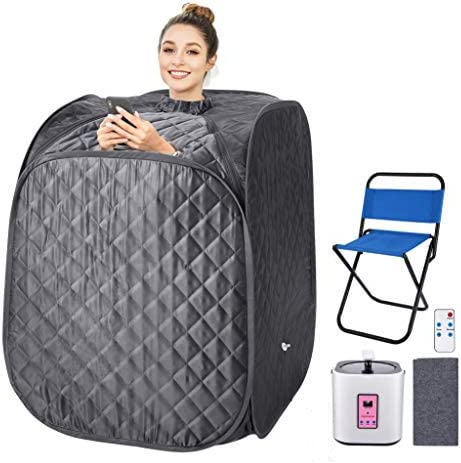 OppsDecor Portable Steam Sauna Spa, 2L Personal Therapeutic Sauna for Weight Loss Detox Relaxation at Home,One Person Sauna with Remote Control,Foldable Chair,Timer US Plug Grey_Cube