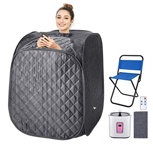 Portable Steam Sauna Spa, 2L Personal Therapeutic Sauna for Weight Loss Detox Relaxation at Home,One Person Sauna with Remote Control,Foldable Chair,Timer US Plug Grey_Cube