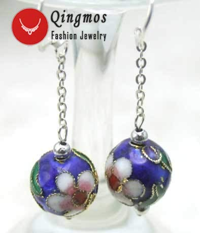 Qingmos Trendy Cloisonne Earrings for Women with 12Mm Round Red Cloisonne &Amp; White Flower Dangle 2&Quot; Earring Fine Jewelry (Blue)
