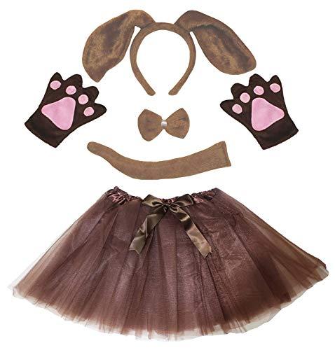 (Petitebella Long Ear Dog Headband Bowtie Tail Gloves Tutu 5pc Girl Costume 1-8y (1-4 Year, Brown))