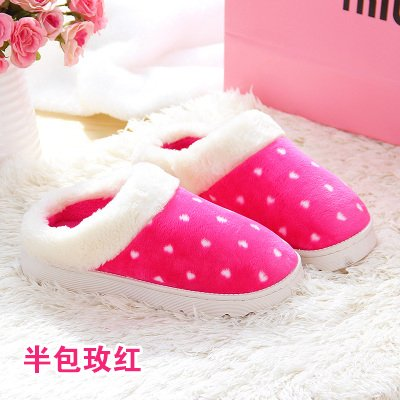 Fankou los cuarteles de invierno de la mamá y papá dormir pareja impermeable zapatos zapatillas de algodón ,42-43,B en rojo