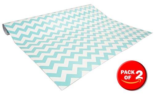 Home Basics Self Adhesive Shelf Liner, 2 Pack (Chevron Blue)