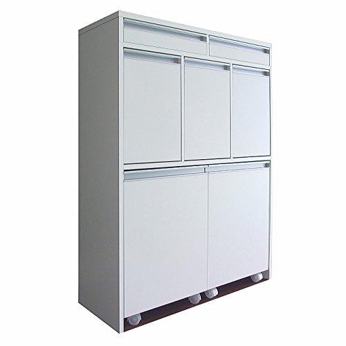 【室内設置サービス付き】家具製造直販TAICHI -見せるゴミ箱収納グランデ家具調5分別ダストボックス/ホワイト B01NACDP77 ホワイト ホワイト