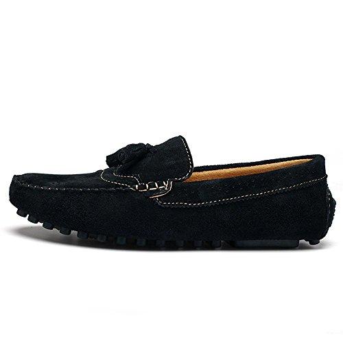 Mocassini in Nero 2018 di 44 Cachi forma pennino guida pelle Mocassini EU shoes nappe Da Shufang leggeri Color uomo e da Scarpe da Uomo a vera Dimensione UYxX7UFw