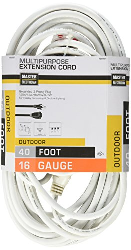 50' White Shore Cord - Master Electrician 02356-01ME 40-Feet Round Vinyl Outdoor Extension Cord, White